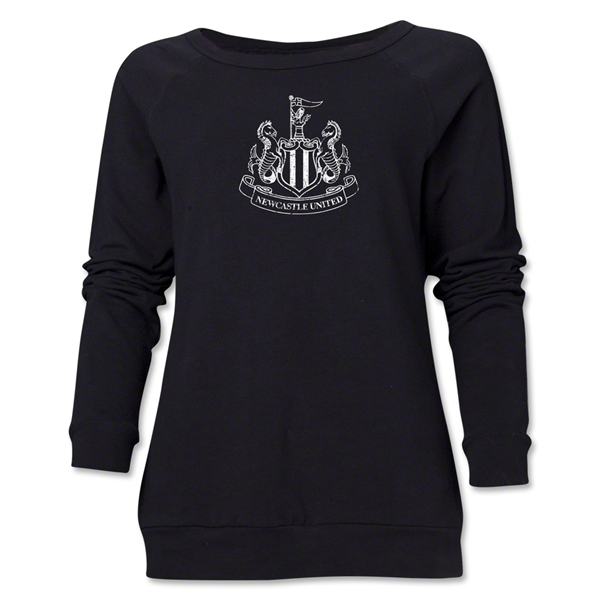 Newcastle United Distressed Women's Crewneck Fleece (Black)