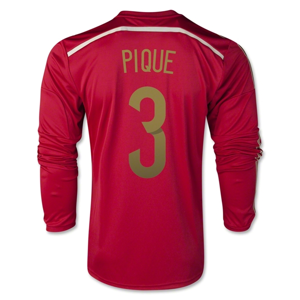 Spain 2014 PIQUE LS Home Soccer Jersey
