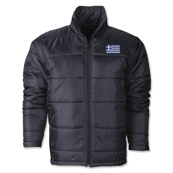 Greece Flag Polyfill Puffer Jacket