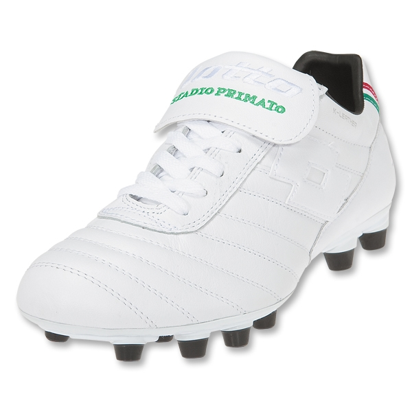 Lotto Stadio Primato K FG Soccer Shoes (White/White/Green)