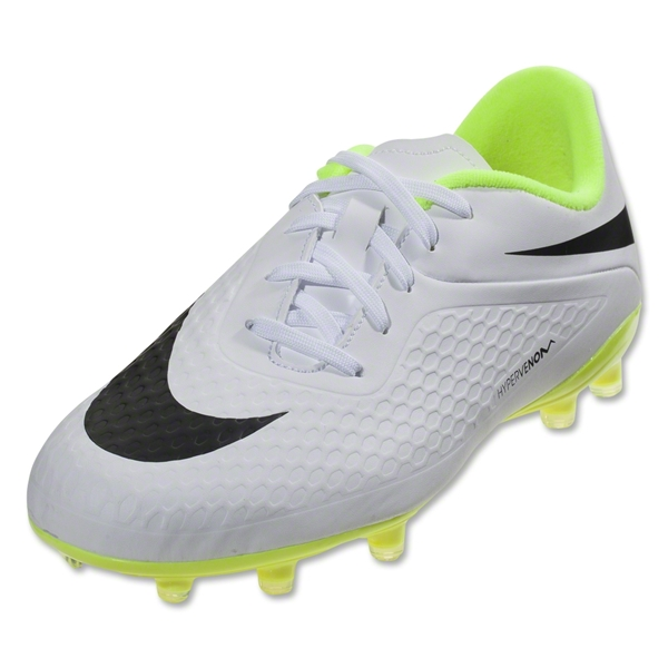 Nike Hypervenom Phelon FG KIDS Cleats (White/Black/Volt)