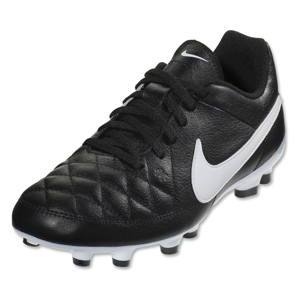 Nike Junior Tiempo Genio Leather FG (Black/White)