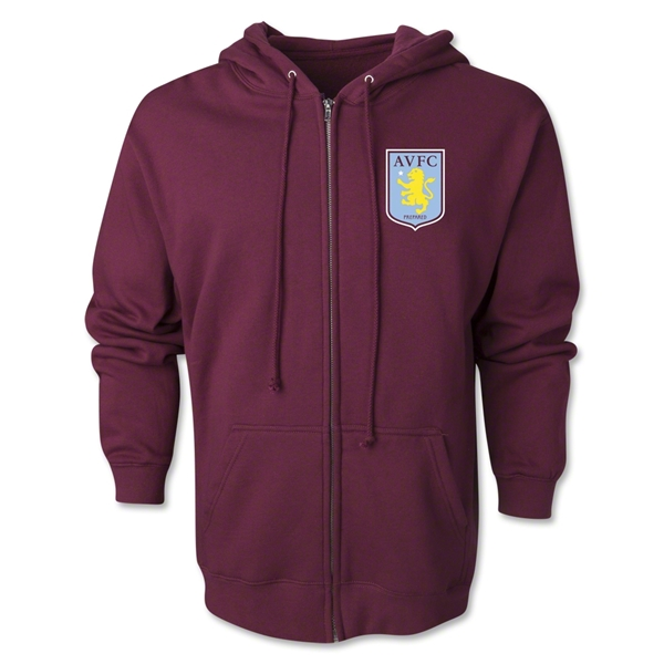 Aston Villa Distressed Club Logo Full Zip Hooded Fleece (Maroon)