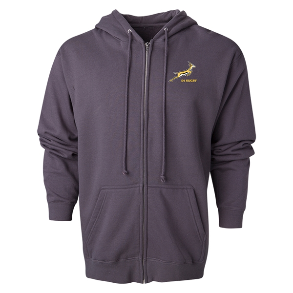 South Africa Springboks Full-Zip Hooded Fleece (Dark Gray)