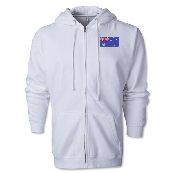 Australia Flag Full Zip Hooded Fleece (White)