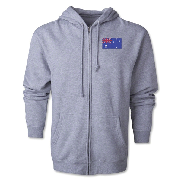 Australia Flag Full Zip Hooded Fleece (Grey)