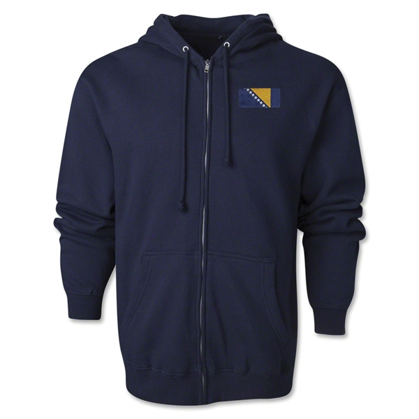 Bosnia-Herzegovina Flag Full Zip Hooded Fleece (Navy)