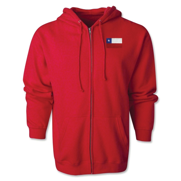 Chile Flag Full Zip Hooded Fleece (Red)