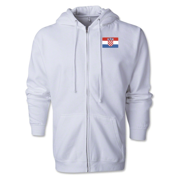 Croatia Flag Full Zip Hooded Fleece (White)