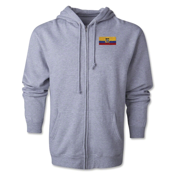 Ecuador Flag Full Zip Hooded Fleece (Grey)