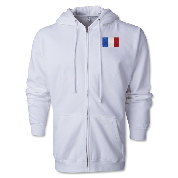 France Flag Full Zip Hooded Fleece (White)