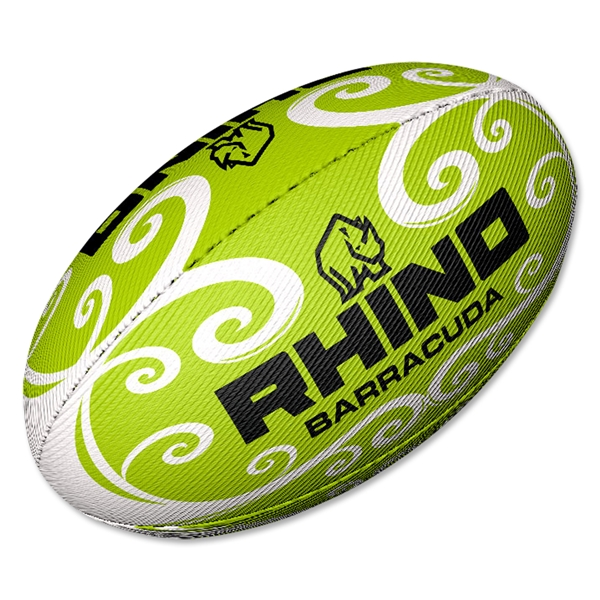 Rhino Lime Barracuda Beach Rugby Ball (Size 4)