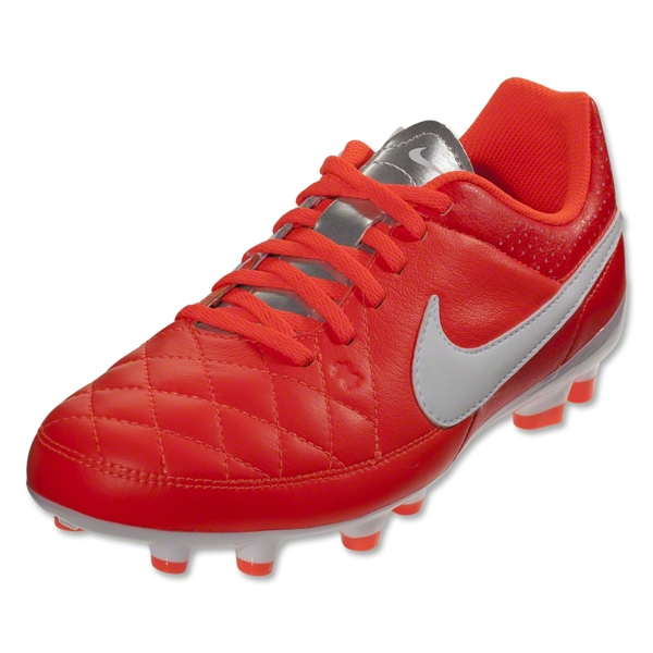 Nike Tiempo Genio Leather FG Junior (Total Crimson/White/Metallic Silver)