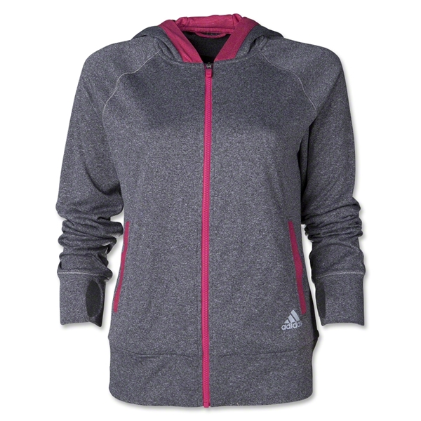 adidas Women's Boyfriend Full-Zip Hoodie (Dark Gray)