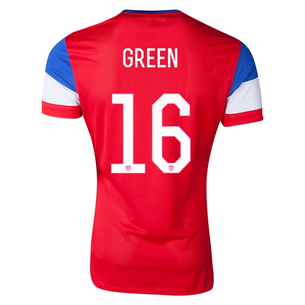 USA 2014 GREEN 16 Authentic Away Soccer Jersey