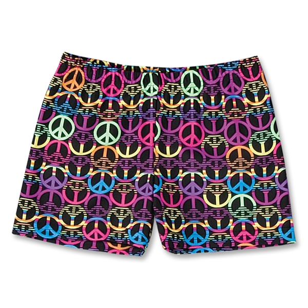 Black and Neon Peace Signs 4 Compression Short (Black/Pink)