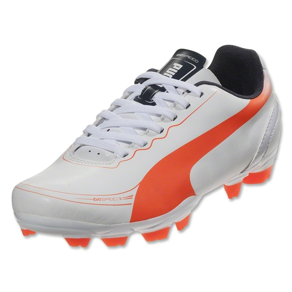 PUMA evoSPEED 5.2 FG Junior (White/Fluo Peach/Ombre Blue)