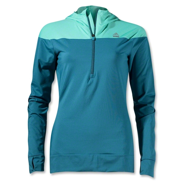 adidas Women's TechFit Cold Weather Half-Zip Hoody (Dark Green)