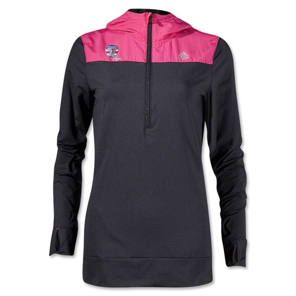 adidas USA Sevens Women's TechFit Cold Weather Hoody (Black/Pink)