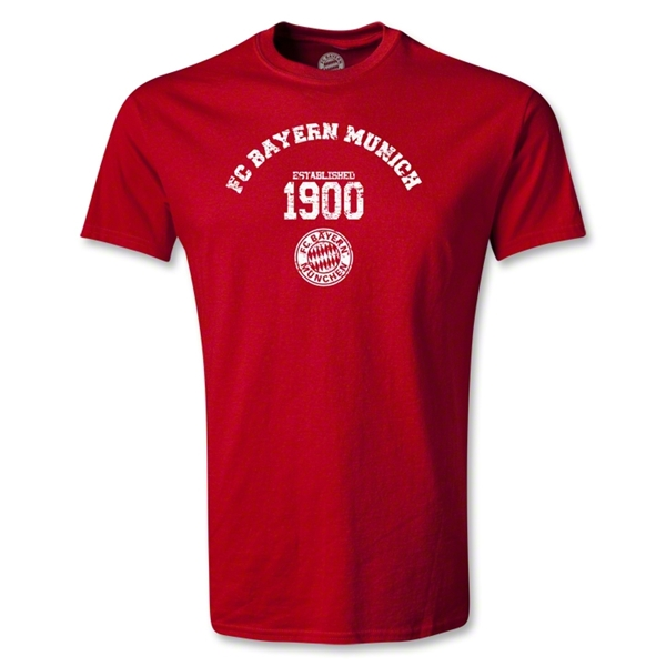 Bayern Munich Distressed Established 1900 T-Shirt (Red)