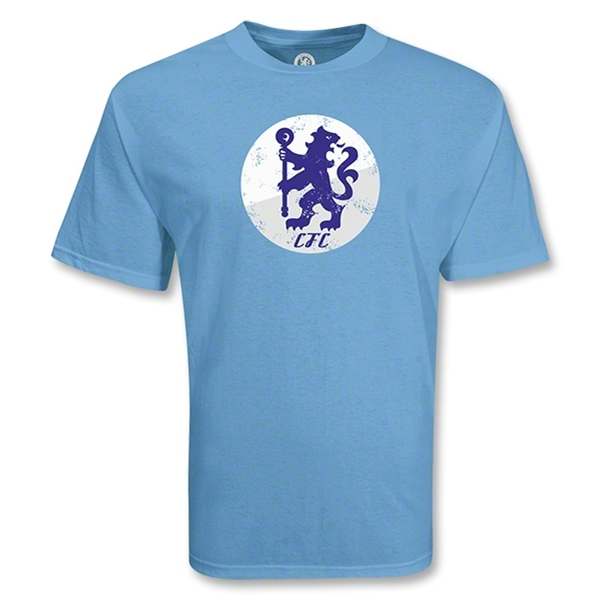 Chelsea Football Club Circle Lion Distressed Soccer T-Shirt (Sky)