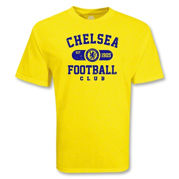 Chelsea Football Club Distressed Soccer T-Shirt (Yellow)