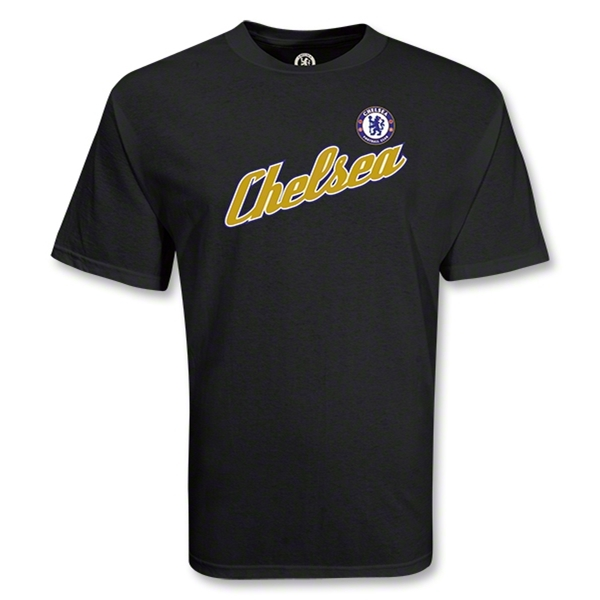 Chelsea Football Club Chelsea Script Soccer T-Shirt (Black)