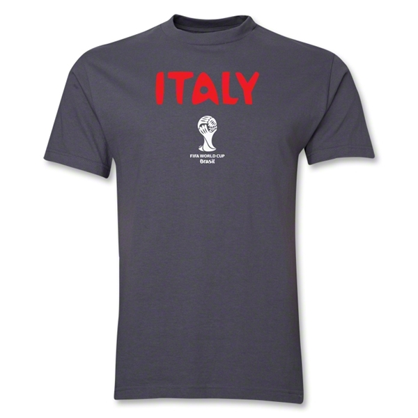 Italy 2014 FIFA World Cup Brazil(TM) Men's Basic Core T-Shirt (Dark Grey)