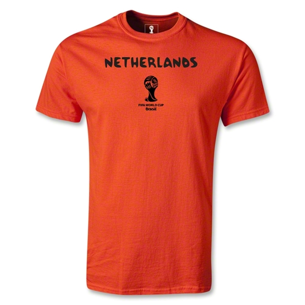 Netherlands 2014 FIFA World Cup Brazil(TM) Men's Basic Core T-Shirt (Orange)