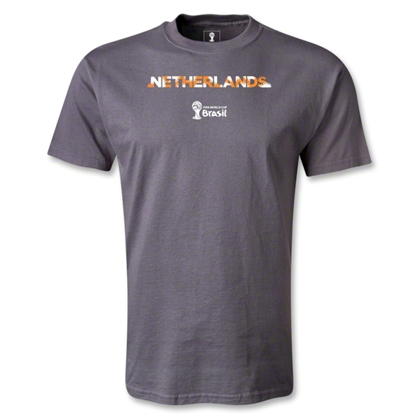 Netherlands 2014 FIFA World Cup Brazil(TM) Palm T-Shirt (Dark Gray)