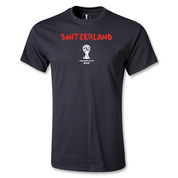 Switzerland 2014 FIFA World Cup Brazil(TM) Men's Core T-Shirt (Black)