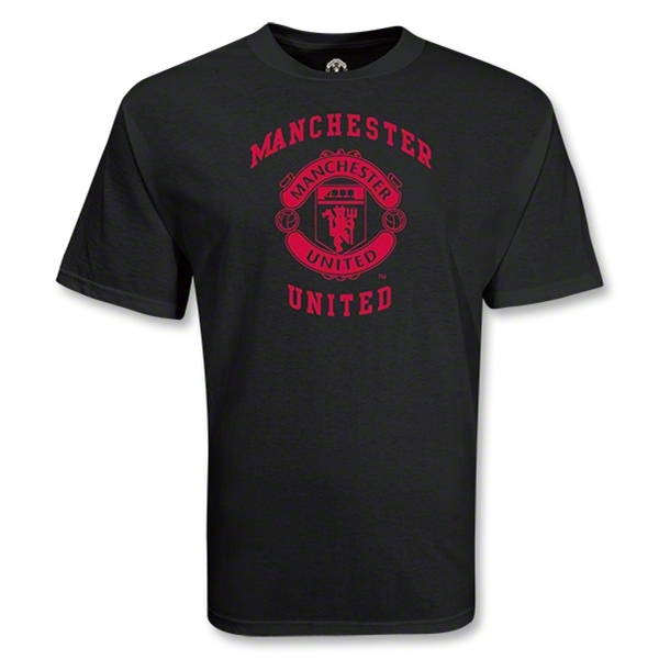 Manchester United College Style Crest T-Shirt (Black)