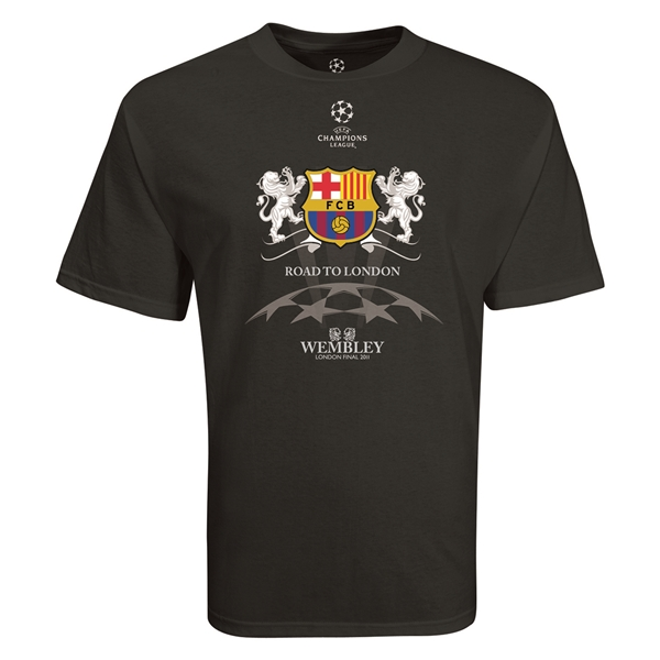 Barcelona Road to London 2 Lions T-Shirt (Black)