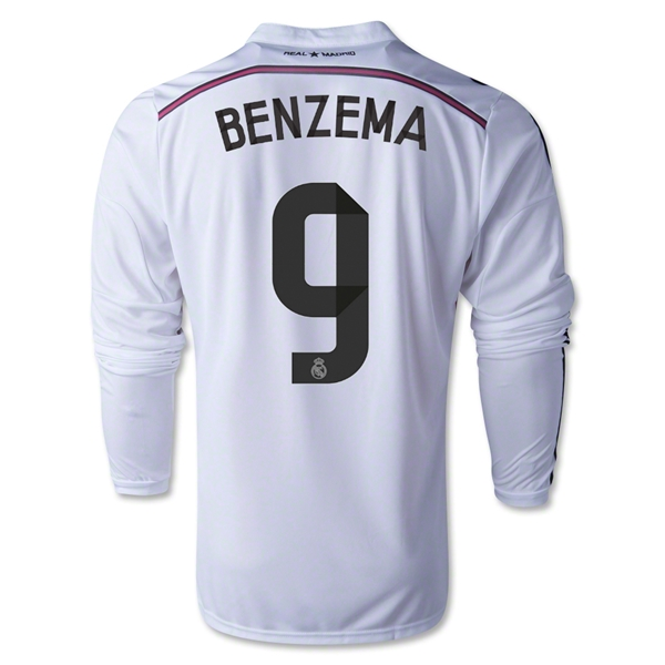 Real Madrid 14/15 BENZEMA LS Home Soccer Jersey