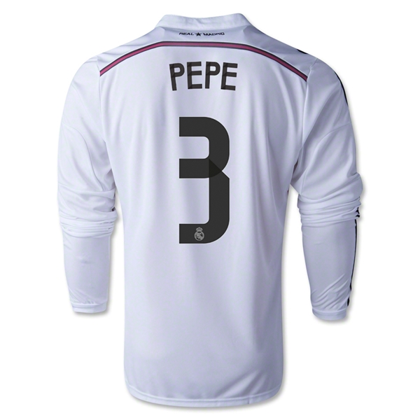 Real Madrid 14/15 PEPE LS Home Soccer Jersey