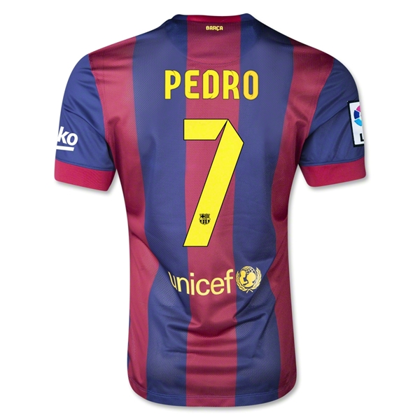 Barcelona 14/15 PEDRO Authentic Home Soccer Jersey