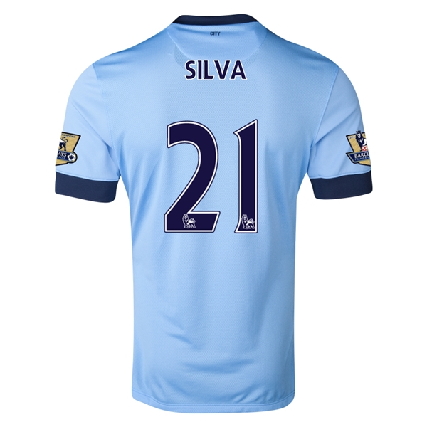 Manchester City 14/15 SILVA Authentic Home Soccer Jersey