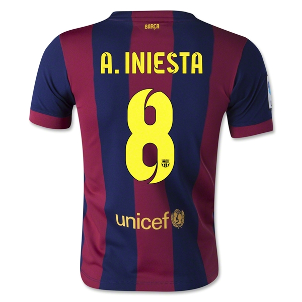 Barcelona 14/15 A. INIESTA Youth Home Soccer Jersey
