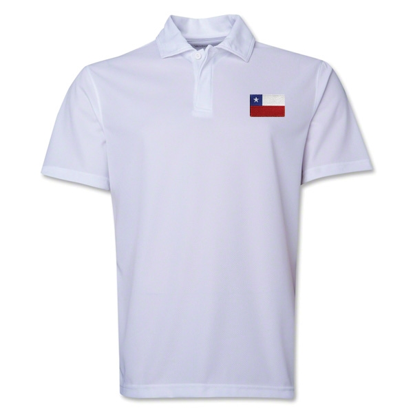 Chile Flag Soccer Polo (White)
