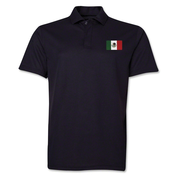 Mexico Flag Soccer Polo (Black)