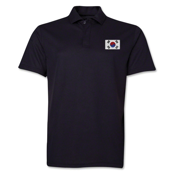 South Korea Flag Soccer Polo (Black)