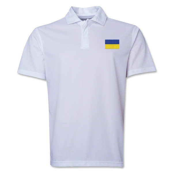 Ukraine Flag Soccer Polo (White)