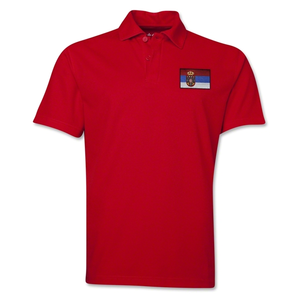 Serbia Flag Soccer Polo (Red)