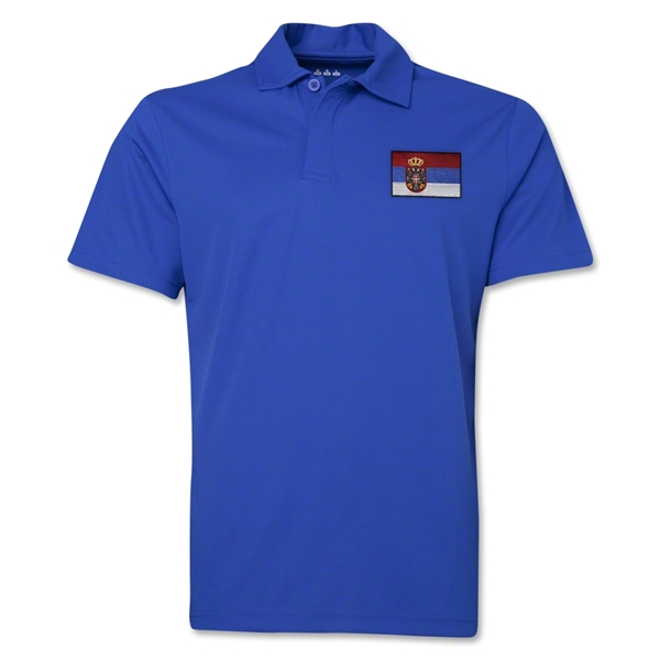 Serbia Flag Soccer Polo (Royal)