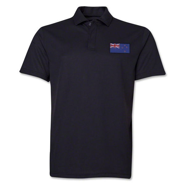 New Zealand Flag Soccer Polo (Black)