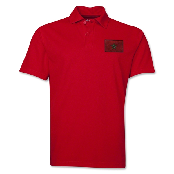 Morocco Flag Soccer Polo (Red)