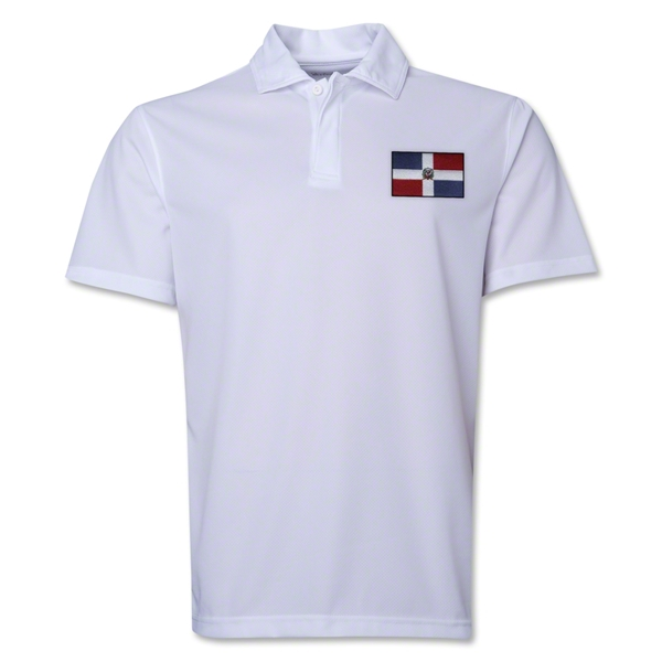 Dominican Republic Flag Soccer Polo (White)