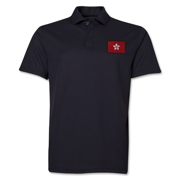 Hong Kong Flag Soccer Polo (Black)