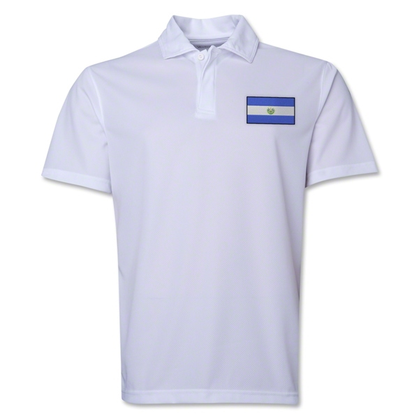 El Salvador Flag Soccer Polo (White)