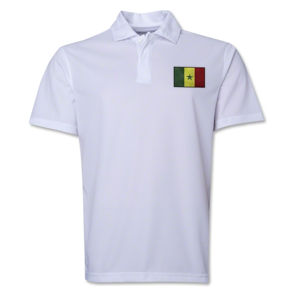Senegal Flag Soccer Polo (White)